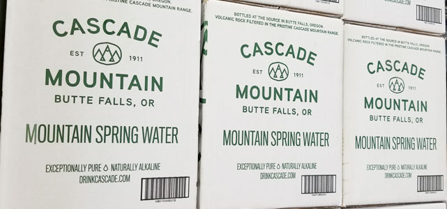 buy clean drinking water directly bottles at the cascade mountain spring in butte falls oregon